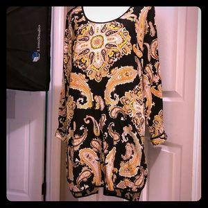 Dresses & Skirts - Black multi silk shift dress-size S excellent!
